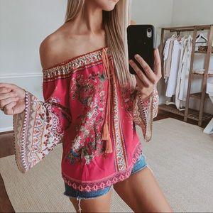 Hot Pink Bell Sleeve Off Shoulder Blouse Size M